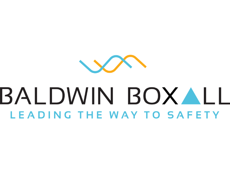 Baldwin Boxall logo. Two flowing lines. Blue triangle.