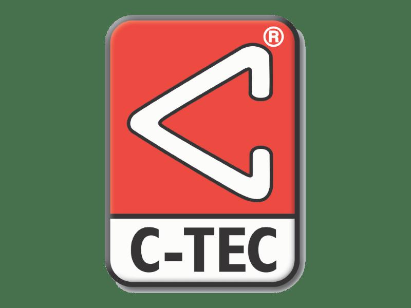 C-Tec logo. Triangular C on red.
