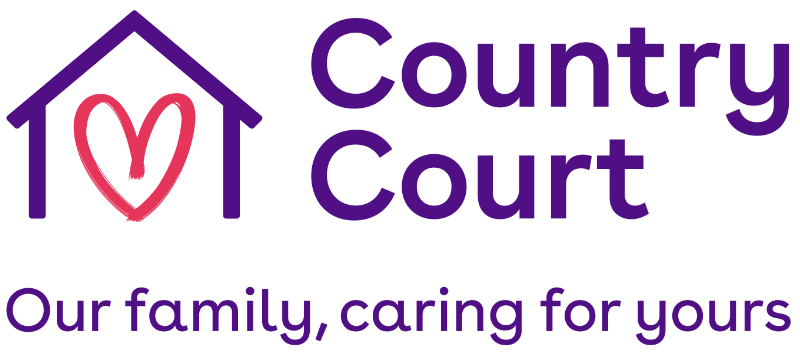 Logo: Country Court. Heart in a house.