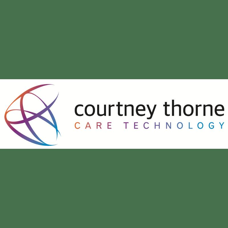 Logo, three interlocking circles. Courtney Thorne care technology.