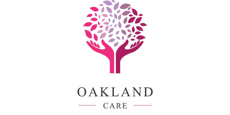 Logo: Oakland care. A tree with the branches made of two hands.