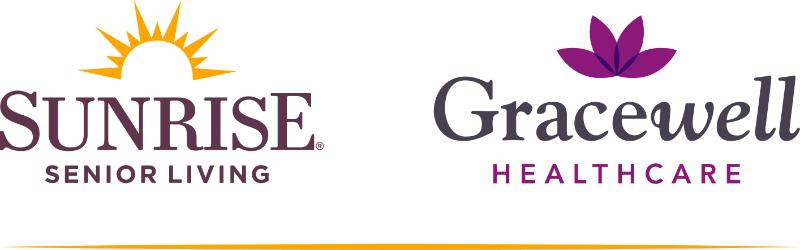 Two Logos: Sunrise senior living. Gracewell healthcare.