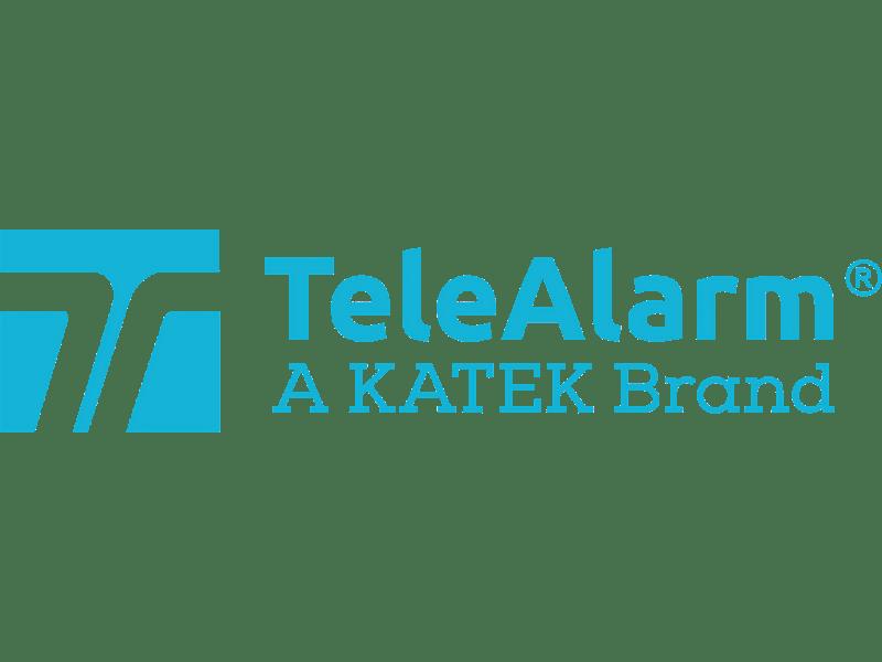 TeleAlarm logo. T on aquamarine square.
